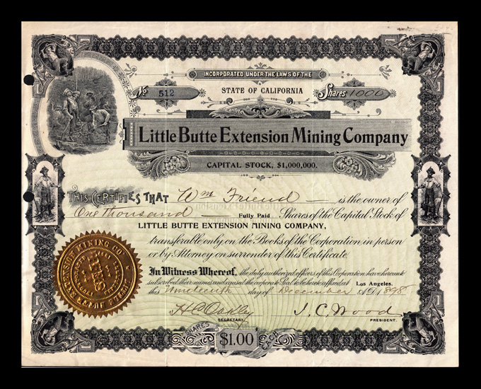 Little Butte Extension Mining Company Stock Certificate The Rand