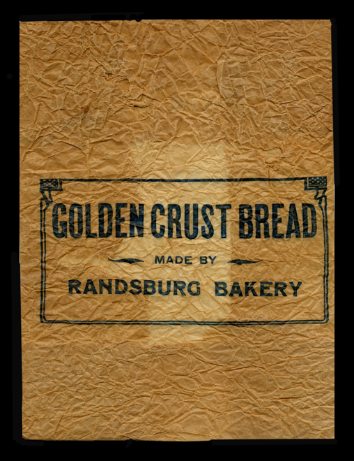 Old Randsburg Bakery Golden Crust Bread Wrapper.  This wrapper was found in one of the ares's mines and it thought to be from Silas Morgan's Bakery circa 1920's