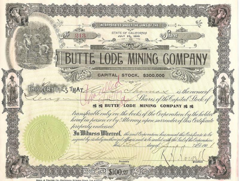 BUTTE LOAD MINING CO.