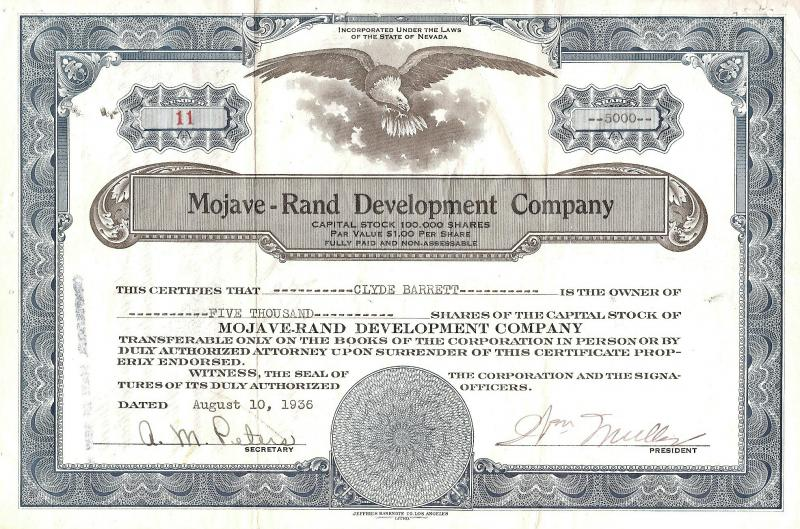 MOJAVE-RAND DEVELOPMENT COMPANY