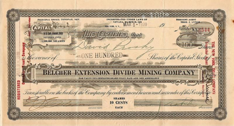 BELCHER EXTENSION DIVIDE MINING COMPANY