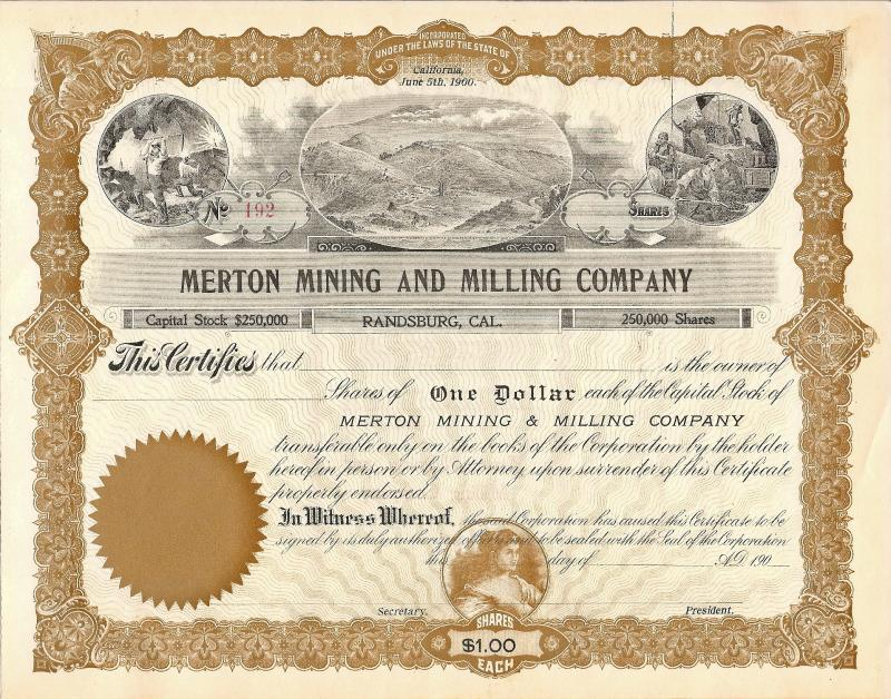 MERTON MINING AND MILLING CO.