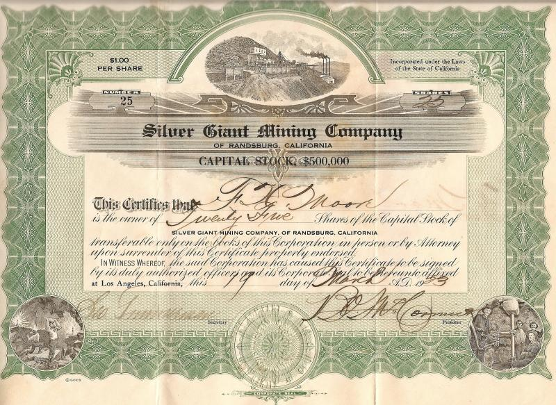 SILVER GIANT MINING COMPANY